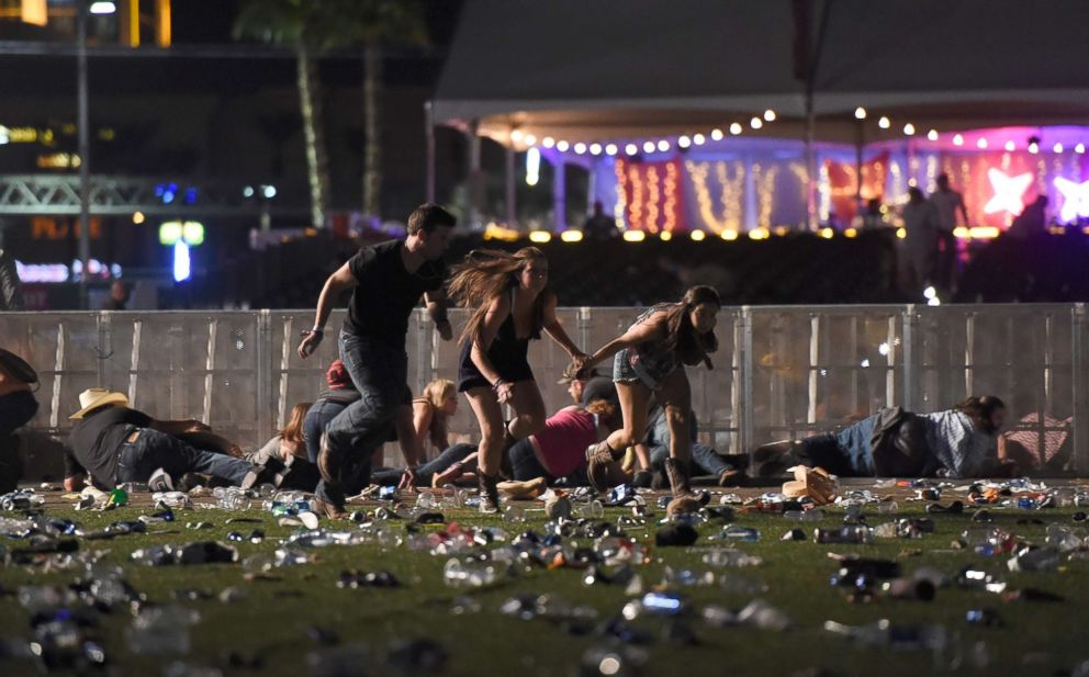 PHOTO: People run from the Route 91 Harvest country music festival after gun fire was heard, Oct. 1, 2017 in Las Vegas.