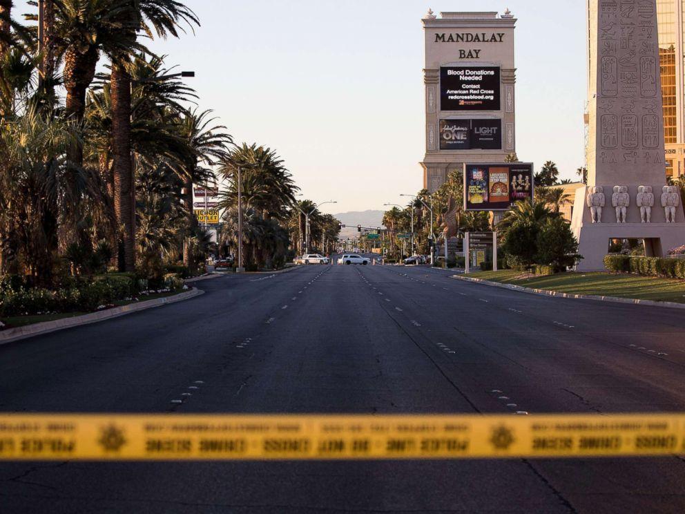 PHOTO: Las Vegas Blvd. remained closed to vehicular traffic, Oct. 3, 2017, near the scene of Sunday nights mass shooting in Las Vegas, Nevada.