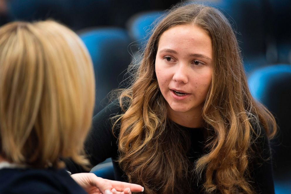 PHOTO: Lauren Hogg, a student from Marjory Stoneman Douglas High School, speaks during a panel on ways to improve school safety and promote student well-being on Capitol Hill in Washington, March 23, 2018.