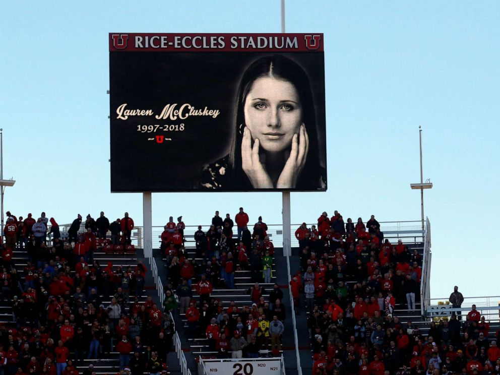 PHOTO: A photograph of University of Utah student and track athlete Lauren McCluskey is projected on the video board before the start of an NCAA college football game between Oregon and Utah, Nov. 10, 2018, in Salt Lake City.