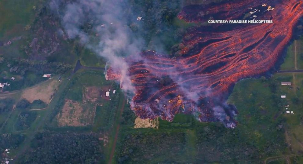 A river of lava flows toward the ocean in the southern part of the Puna district of Hawaiis Big Island, Saturday, May 19, 2018.
