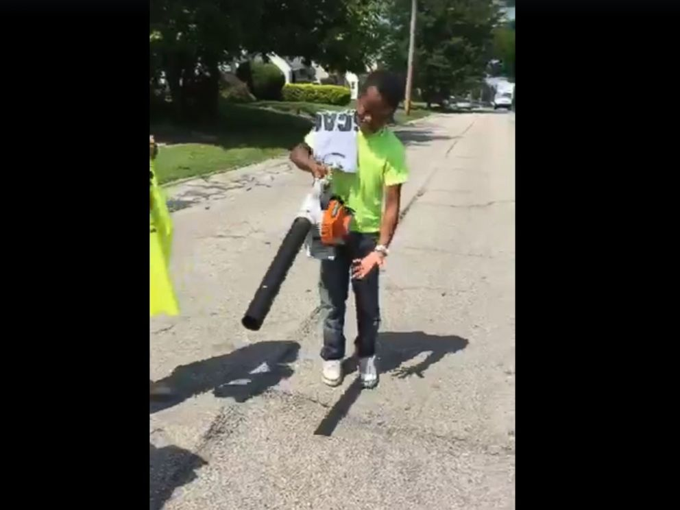 PHOTO: Mr. Reggies Lawn Cutting Service has received a new lawnmower and new leaf blower from people in the community after neighbors called the police on him for cutting their grass.
