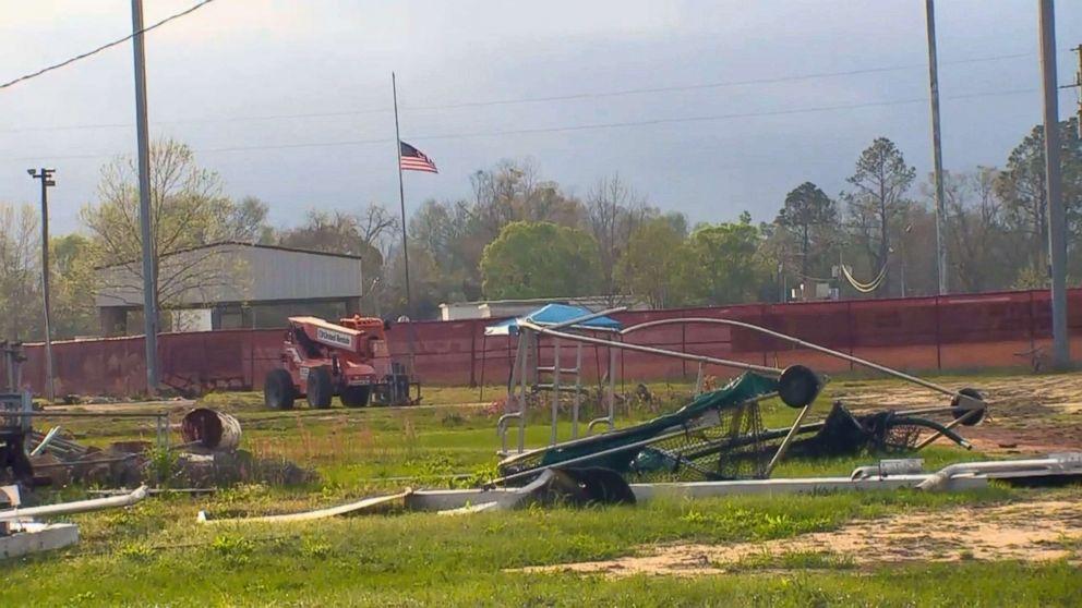 PHOTO: The hurricane-damaged field at Liberty County High School in Bristol, Fla., where baseball coach Corey Crum and his wife, Shana, were killed working on repairs.