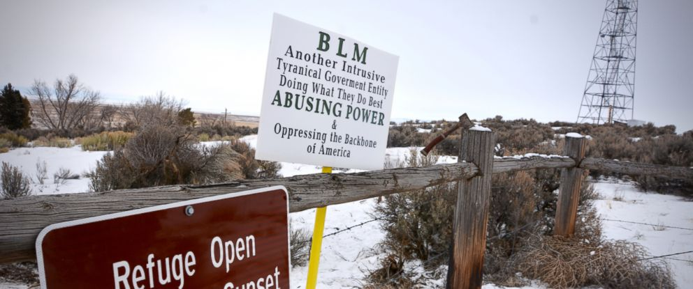 PHOTO: A sign expressing antipathy toward the Bureau of Land Management is attached to a fence at the Malheur Wildlife Refuge that members of a militia have occupied, Jan. 3, 2016.