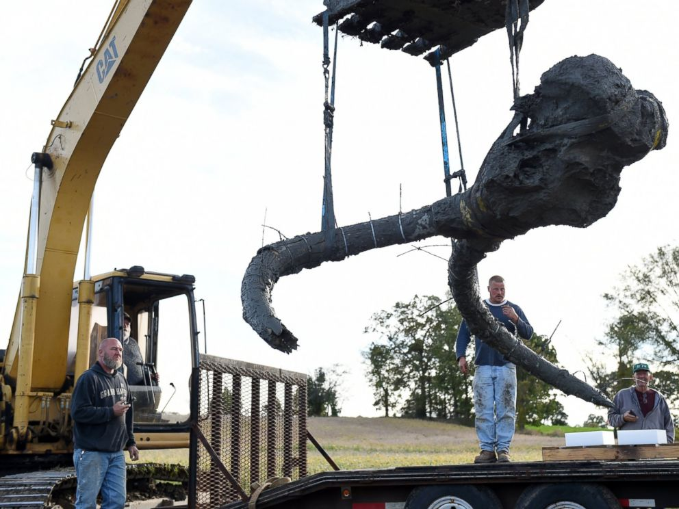 PHOTO: University of Michigan professor Dan Fisher and a team of students work to excavate a woolly mammoth found on a farm in Lima Township, Mich., Oct. 1, 2015.