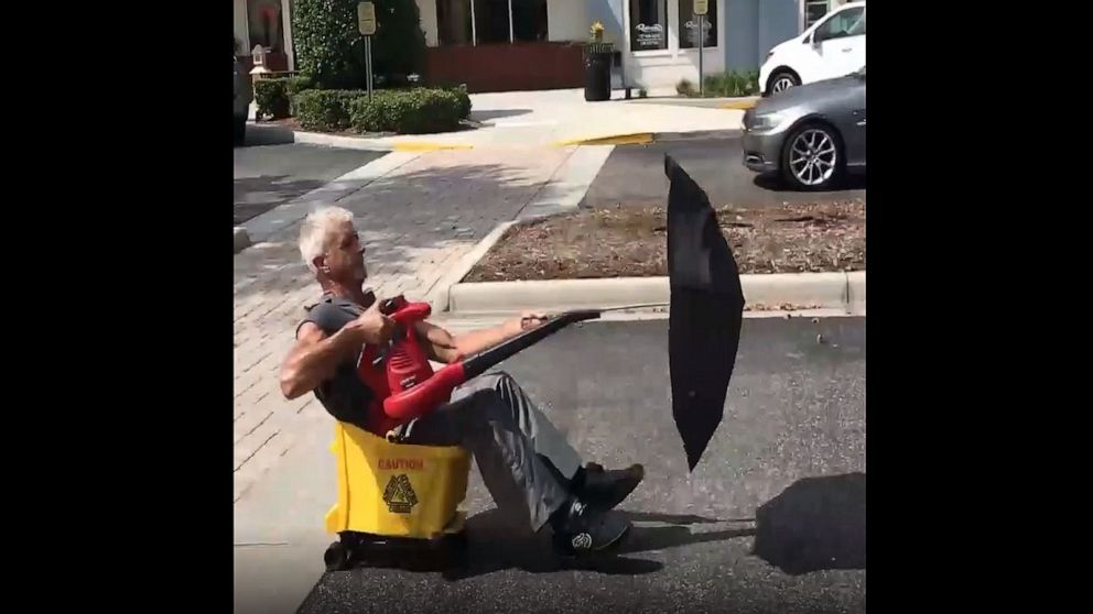 Florida man speeds about in leaf blower-powered vehicle