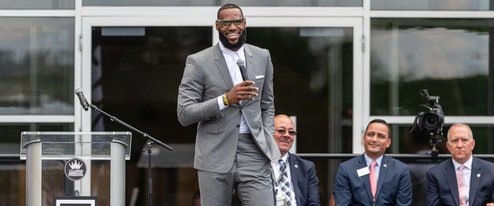 PHOTO: LeBron James addresses the crowd during the opening ceremonies of the I Promise School on July 30, 2018 in Akron, Ohio.