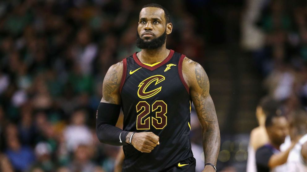 LeBron James reacts in the second half against the Boston Celtics during Game Seven of the 2018 NBA Eastern Conference Finals at TD Garden on May 27, 2018 in Boston, Massachusetts.