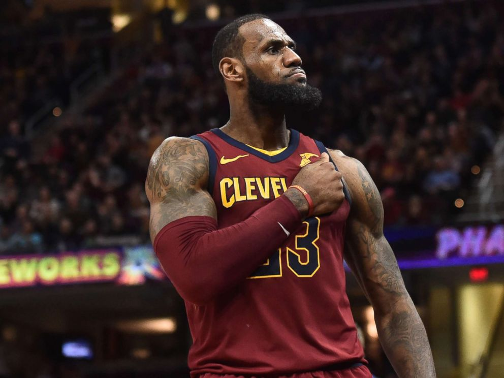 Photo Cleveland Cavaliers Forward Lebron James  Reacts After A Basket During The