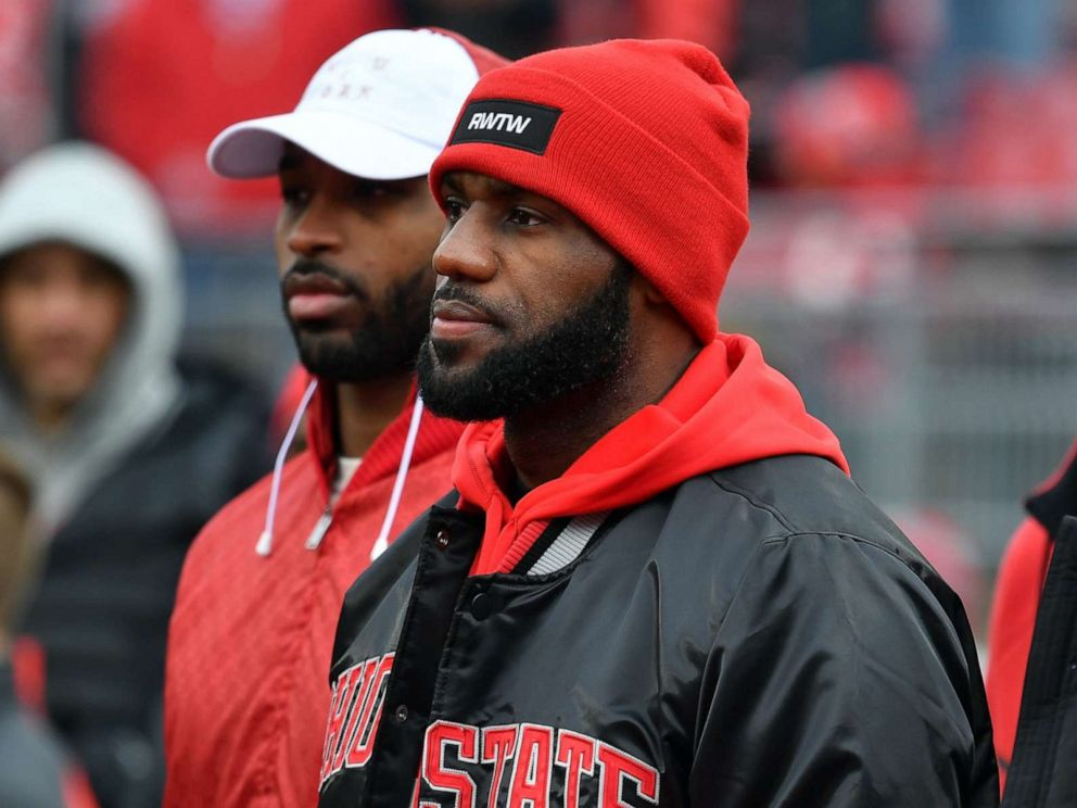 PHOTO: Lebron James is seen on the field prior to the game between the Michigan Wolverines and Ohio State Buckeyes at Ohio Stadium on November 26, 2016 in Columbus, Ohio.