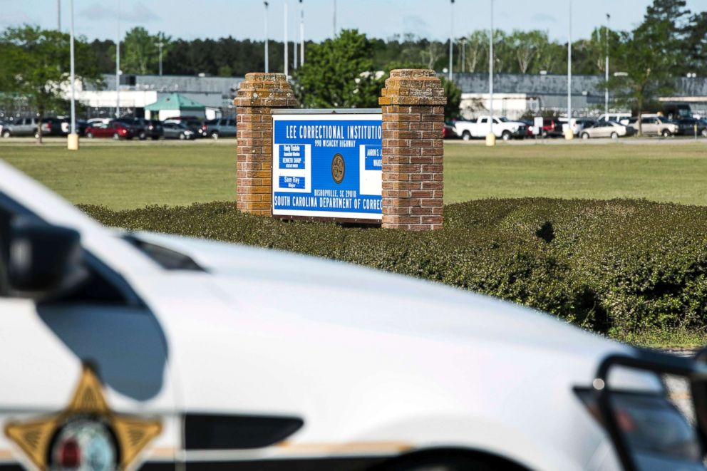 PHOTO: A police vehicle sits outside the Lee Correctional Institution on April 16, 2018, in Bishopville, S.C.