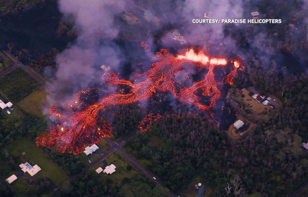 A fissure eruption in the Leilani Gardens neighborhood on Hawaiis Big Island consumed homes on Sunday, May 6, 2018.
