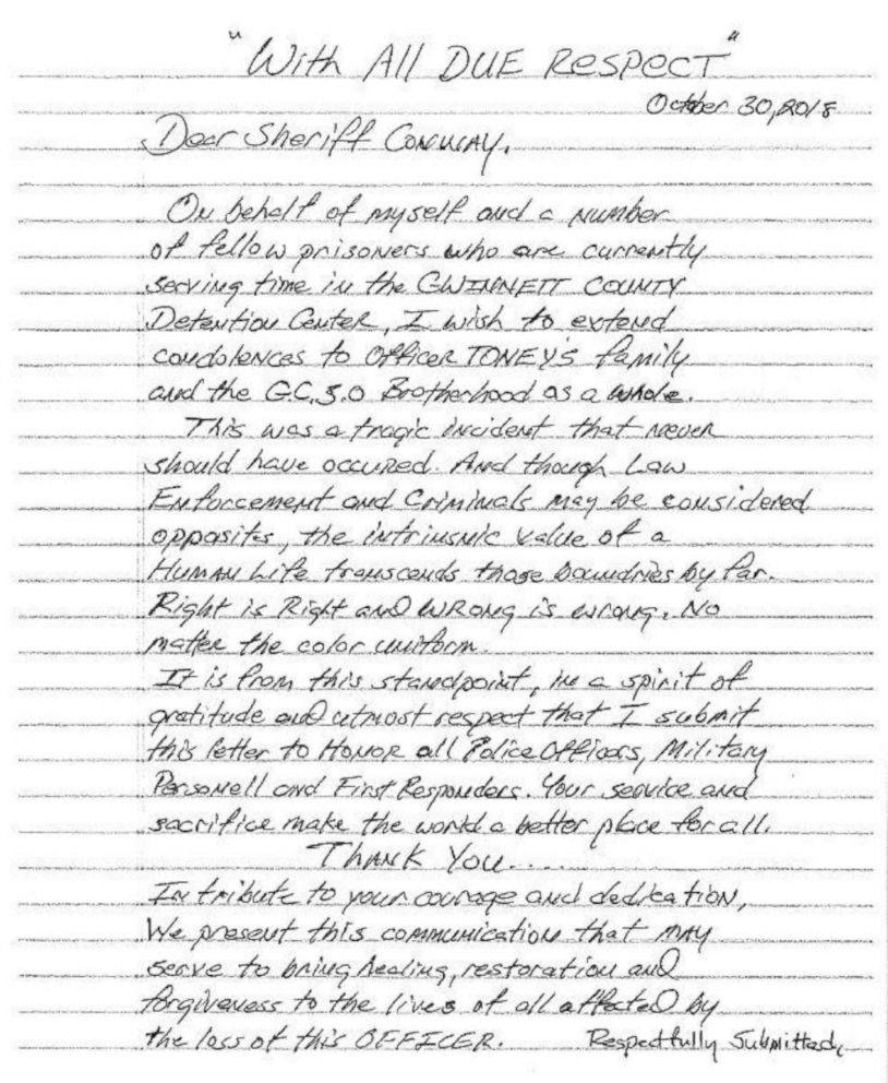 Inmates send letter to sheriff after officer is shot dead