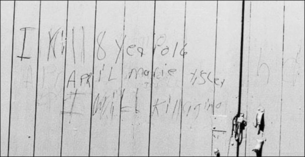 PHOTO: In May 1990 law enforcement found writing on a barn from April Tinsleys suspected killer, saying, I kill 8 year old April M Tinsley did you find her other show haha I will kill again.