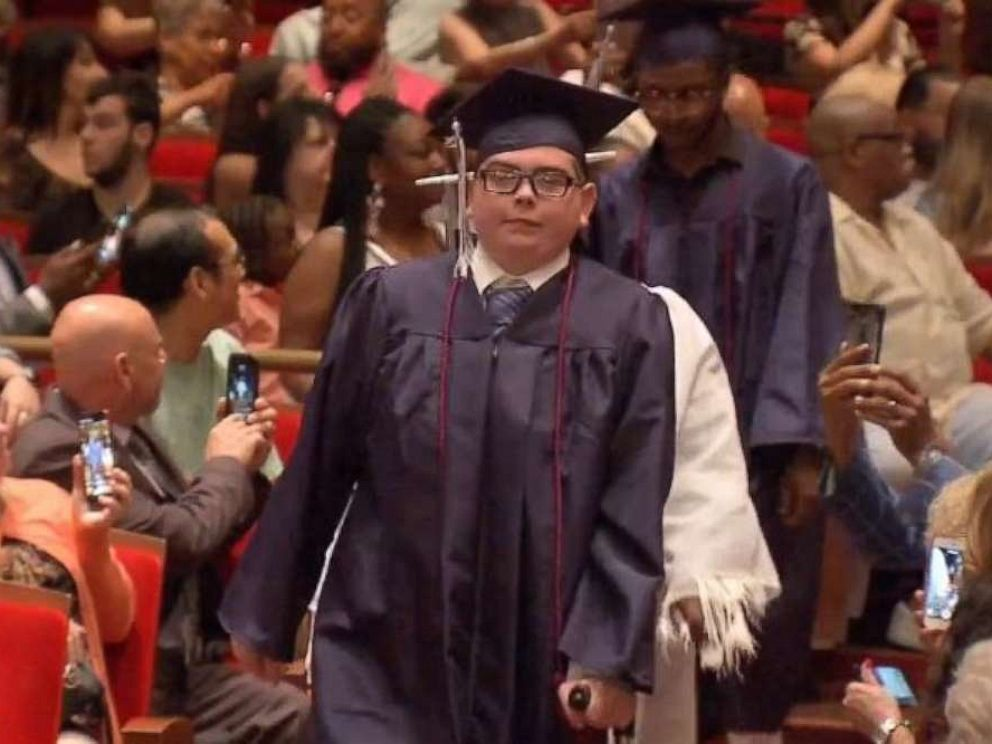 PHOTO: Tom Sweeney graduated from Philadelphia Performing Arts charter school on time Friday, June 14, 2019, despite being diagnosed with leukemia as a 13-year-old.