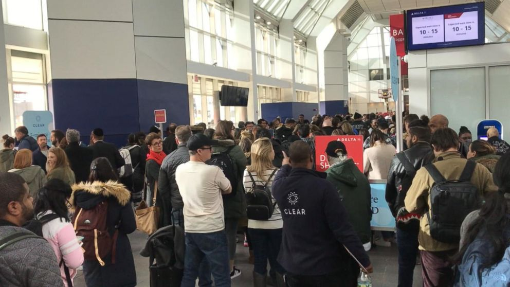 Hundreds of travelers were stuck in lines at LaGuardia Airport on Jan. 6, 2019, amid increased callouts by TSA agents during the government shutdown.