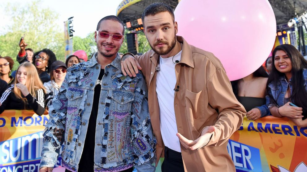 """Liam Payne performed live with J Balvin during the """"Good Morning America"""" Summer Concert Series, May 15, 2018."""