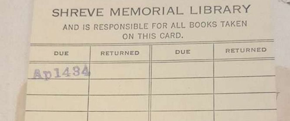 "PHOTO: The book ""Spoon River Anthology"" was returned to Shreve Memorial Library in Shreveport, La., Oct. 1, 2018, after it was checked out 84 years ago."
