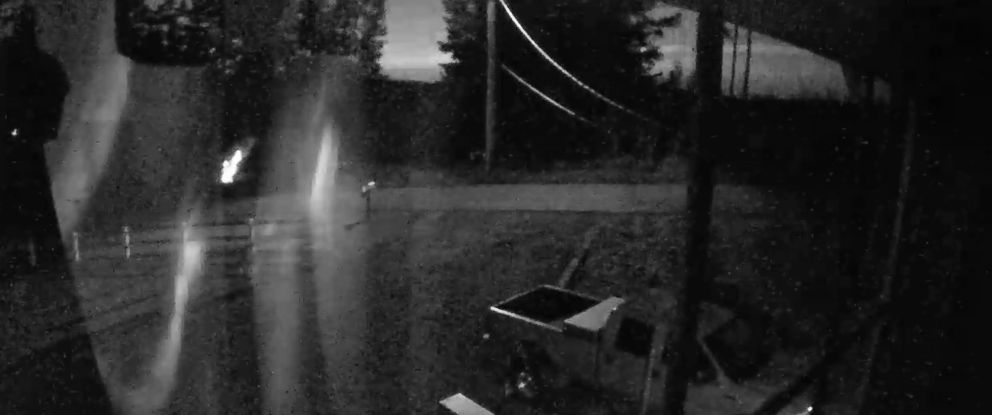 PHOTO: A surveillance video from a residents home in Grays Harbor County, Washington, shows the flash in black and white.