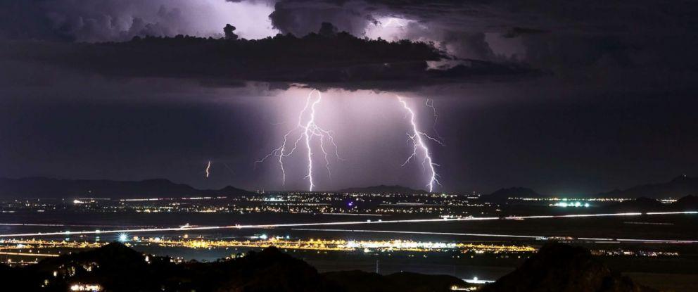 PHOTO: Lightning strikes over Phoenix, Arizona.