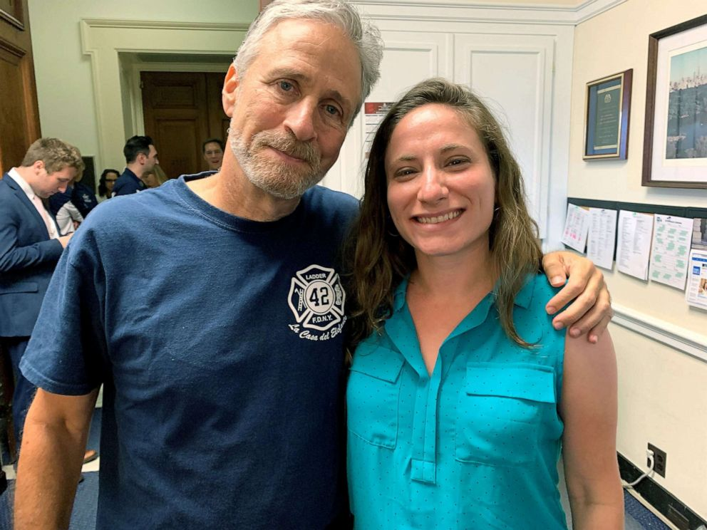 PHOTO: Lila Nordstrom, pictured with Jon Stewart, was a high school senior at Stuyvesant High School in lower Manhattan when the Sept. 11 attacks occurred and now she has 9/11-related illnesses.