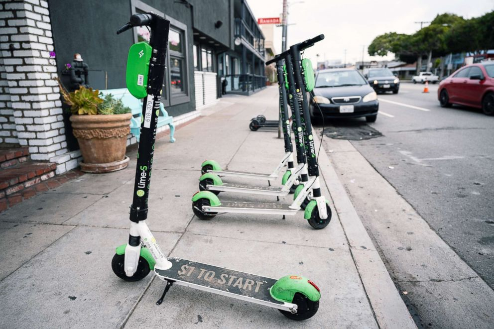 PHOTO: Electric scooters seen in Los Angeles, Calif., Jan. 29, 2019.