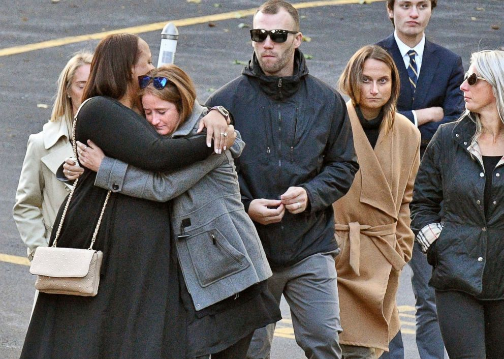 PHOTO: Mourners leave St. Stanislaus Roman Catholic Church during calling hours for Schoharie limo crash victims, on Oct. 12, 2018, in Amsterdam, N.Y.