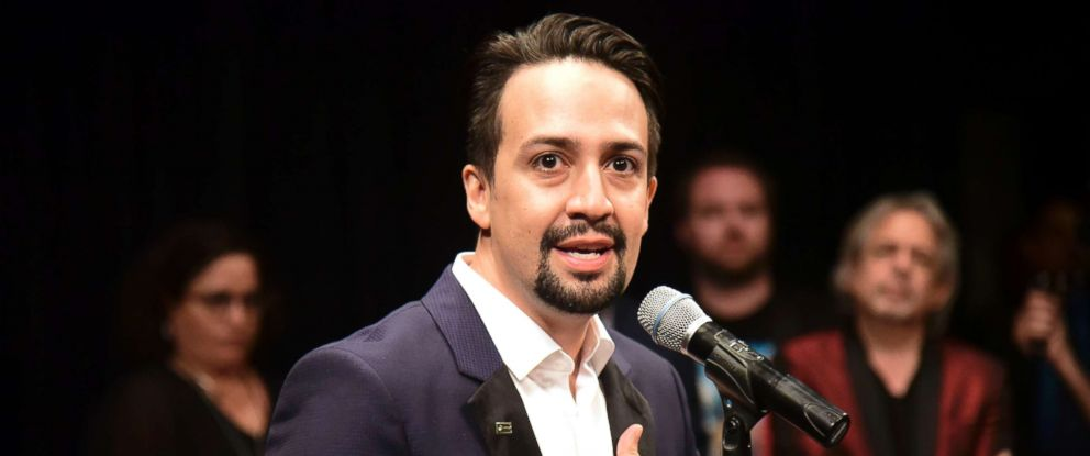 PHOTO: Lin-Manuel Miranda, composer and creator of the award-winning Broadway musical, Hamilton, speaks at a press conference after the premieres ends in San Juan, Puerto Rico, Jan. 11, 2019.