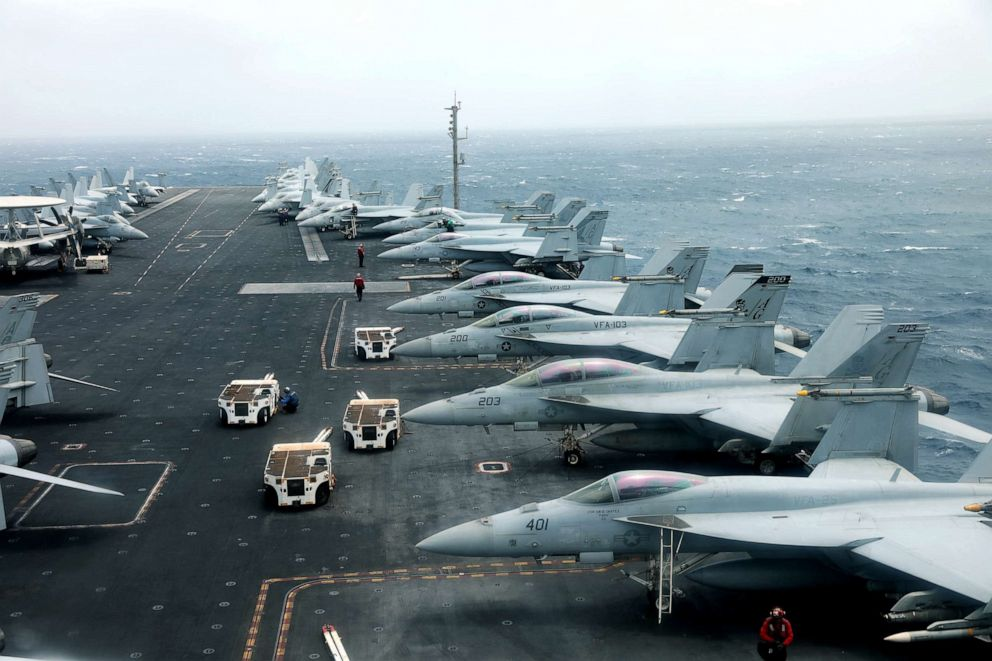PHOTO: F/A-18F aircrafts on the deck of USS Abraham Lincoln as it sails in the Gulf of Oman near the Strait of Hormuz, July 15, 2019.