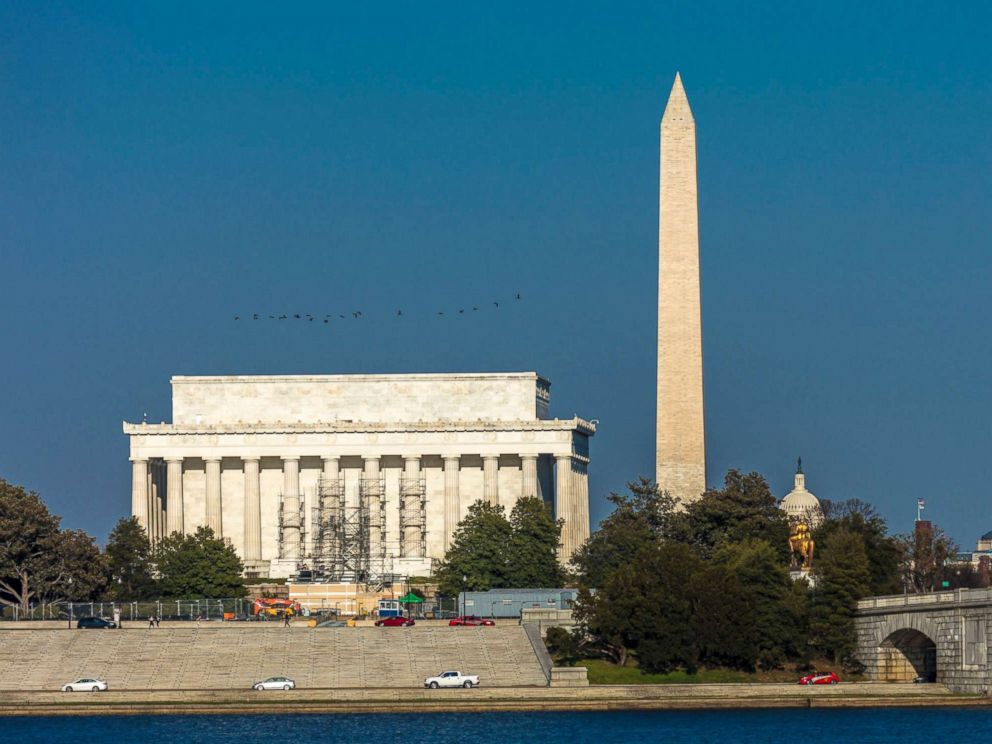 PHOTO: Lincoln Memorial and Washington Monument are depicted in Washington DC on April 9, 2018.