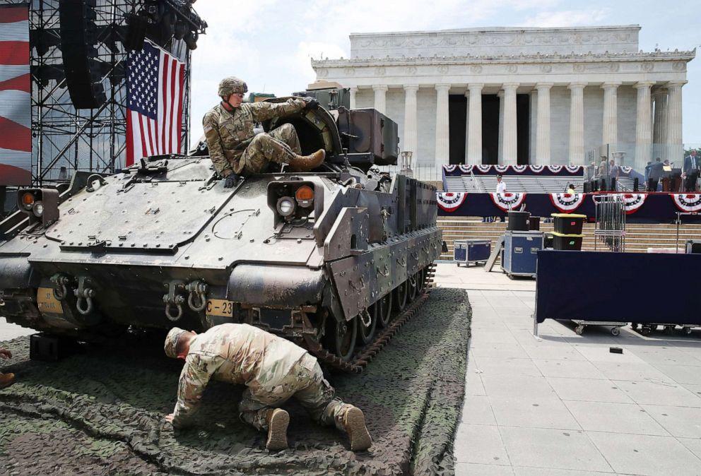 PHOTO: Members of the U.S. Army finish park an M1 Abrams tank in front of the Lincoln Memorial ahead of the Fourth of July Salute to America celebration on July 3, 2019, in Washington, D.C.