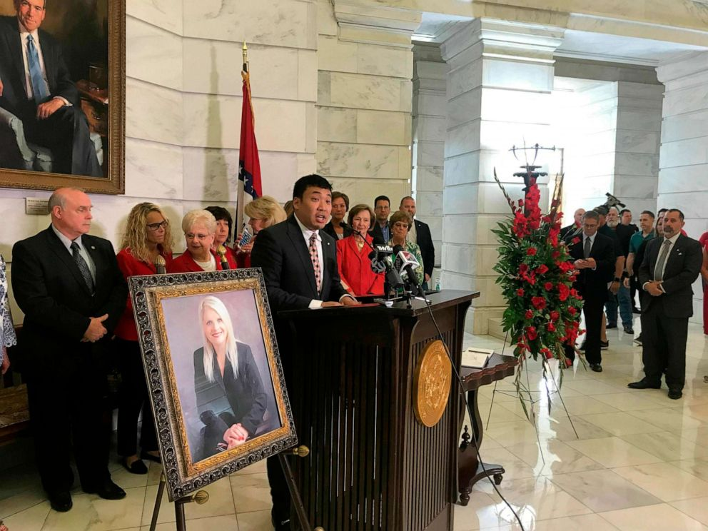PHOTO: Ken Yang, former communications director for former state Sen. Linda Collins, speaks at an event remembering Collins at the state Capitol, June 11, 2019, in Little Rock, Ark.