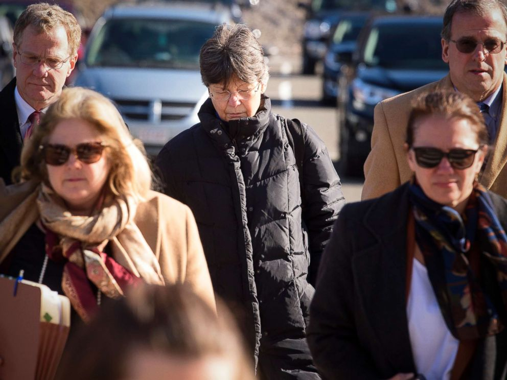 PHOTO: Linda L. Kosuda-Bigazzi, middle, accused of murdering her husband Pierluigi Bigazzi, arrives at Bristol Superior Court in Bristol, Conn., for arraignment flanked by her legal team, Feb. 13, 2018.