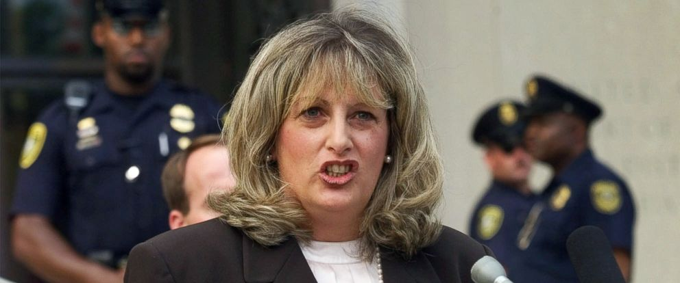 PHOTO: Linda Tripp, the Pentagon employee whose secret tape recordings of former White House intern Monica Lewinsky triggered a criminal investigation of President Clinton, talks to reporters outside federal court in Washington, July 29, 1998.