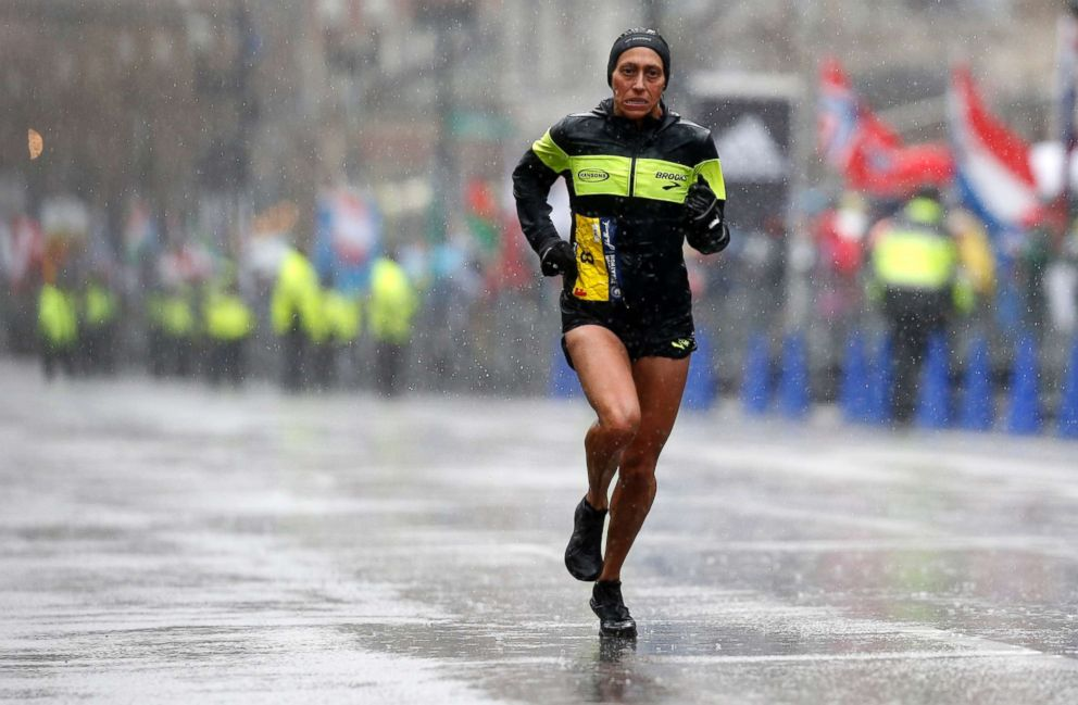 PHOTO: Desiree Linden during the 2018 Boston Marathon, April 16, 2018.