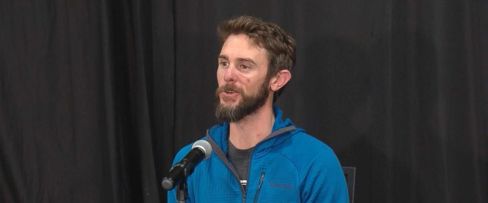 PHOTO: Travis Kauffman, the main who fought off a mountain lion, speaks to the press about the attack in Fort Collins, Colo., Feb. 14, 2019.
