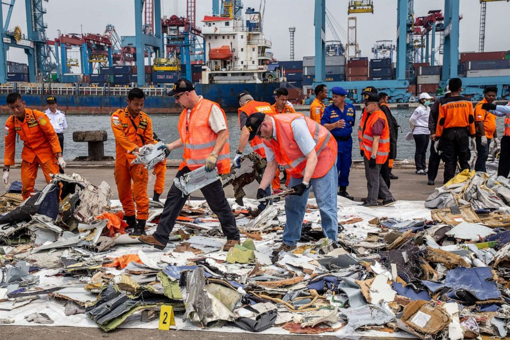 PHOTO:A group of National Transportation Safety Board from United States and Indonesian Committe of Safety Transportation visit Tanjung Priok harbour to investigate the debris of Lion Air Plane Crash at Tanjung Karang Sea-West Java, Nov. 1, 2018