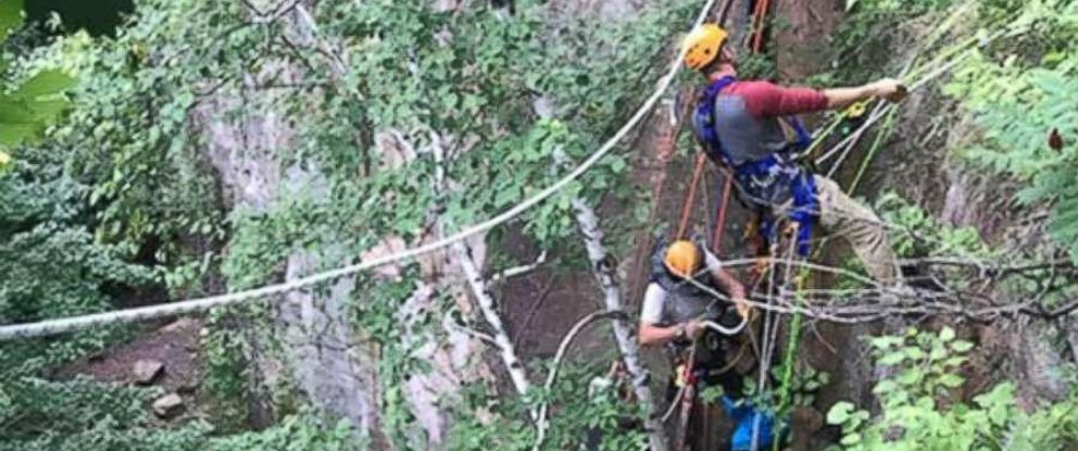 PHOTO: Rescuers attempted to free the 13-year-old rock climber with hammers, chisels, an extrication tool, and finally turned to liquid dish soap.
