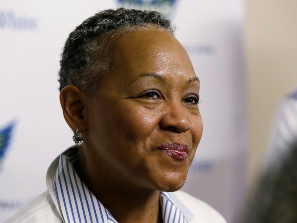 PHOTO: In this May 21, 2016, file photo, WNBA President Lisa Borders smiles as she speaks to reporters before a WNBA basketball game between the San Antonio Stars and the Dallas Wings in Arlington, Texas.