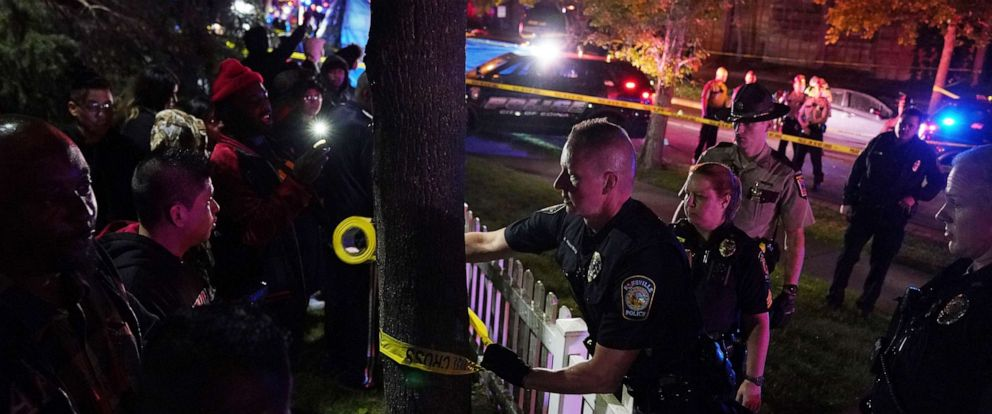 PHOTO: Police put up tape in an area near an officer involved shooting on East 77th Street in Richfield, Minn., Saturday night, Sept. 7, 2019.