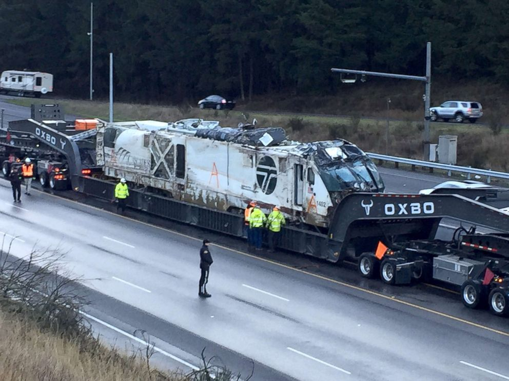 PHOTO: The 270,000 pound Amtak locomotive being moved from the crash site, December 20, 2017.