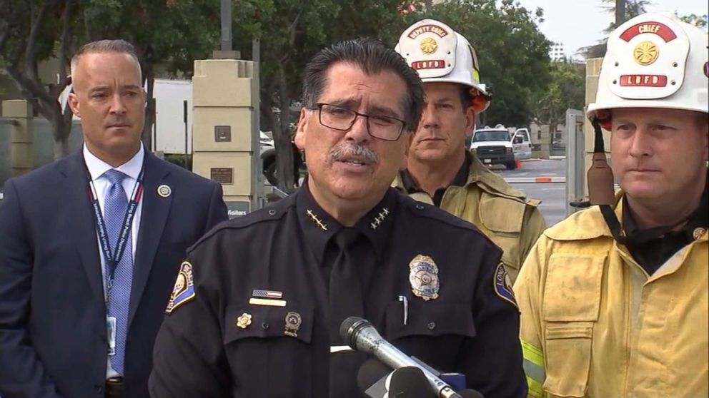 Long Beach Police Chief Robert Luna speaks to the media during after a shooting involving two firefighters on June 25, 2018 in Long Beach, Calif.