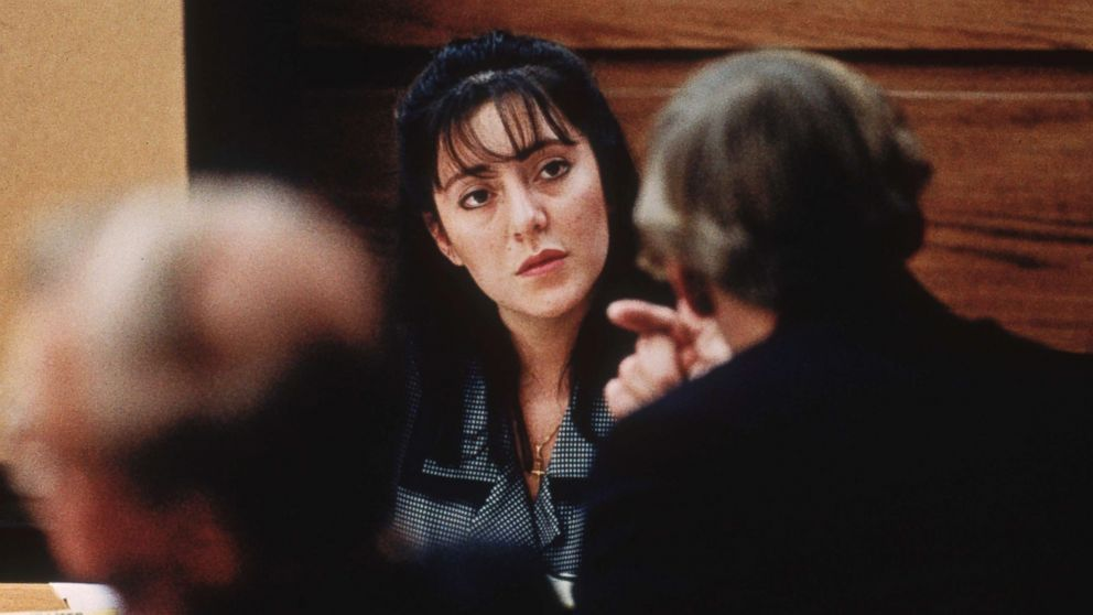 Lorena Bobbitt takes the witness stand in her trial for cutting off her husband's penis Jan. 1994.