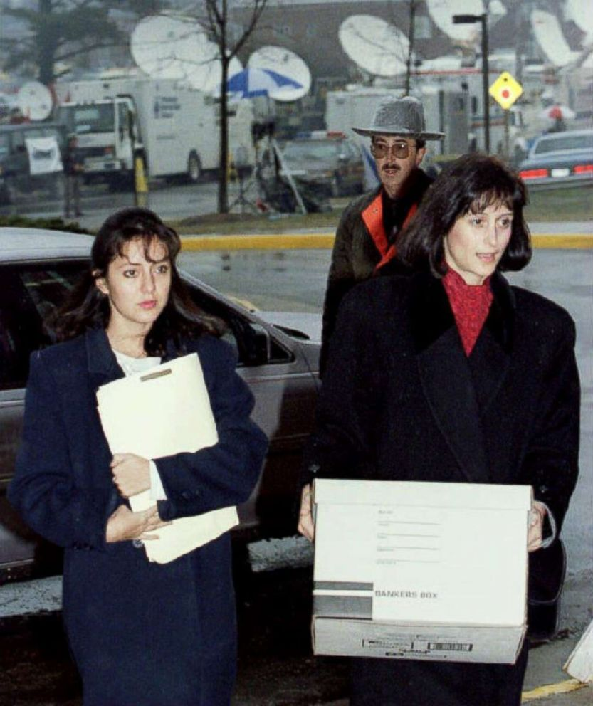 PHOTO: Lorena Bobbitt (L) arrives at the Prince William County Courthouse in Manassa, VA, Jan. 12, 1994 with her attorney Lisa Kemler for the third day of testimony in her trial for the malicious wounding of her husband John.