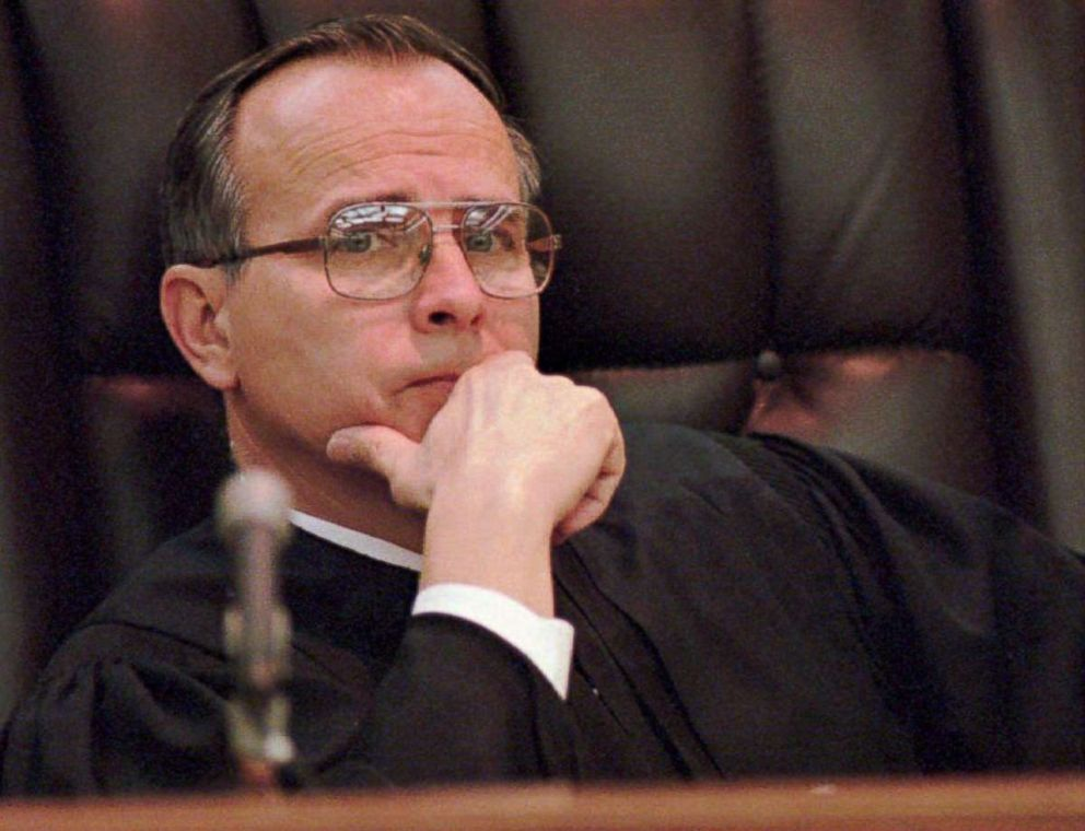 PHOTO: Judge Herman Whisenant listens to testimony during the second day of the malicious wounding of the Lorena Bobbitt trial in Manassas, VA, Jan. 11, 1994.