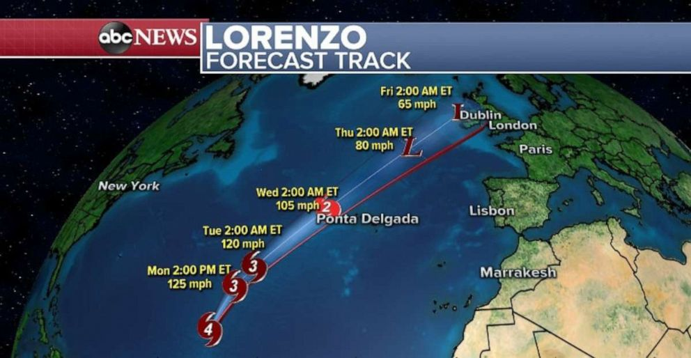 PHOTO: Hurricane Lorenzo is weakening as it heads northeast in the Atlantic Ocean.