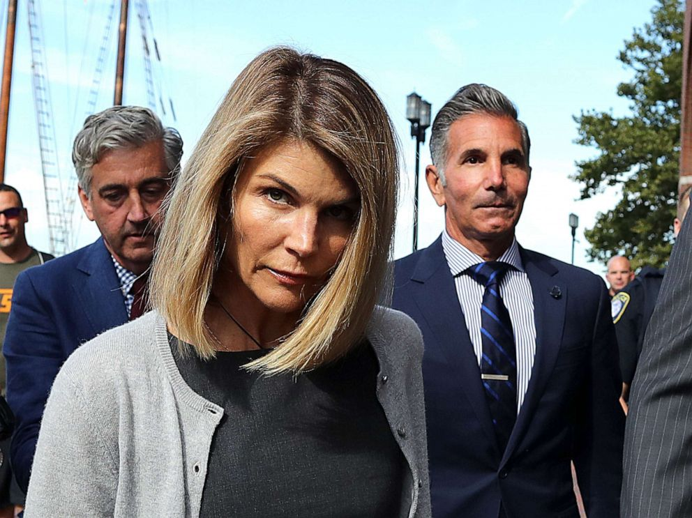hollywood PHOTO: BLori Loughlin and her husband Mossimo Giannulli, right, leave the John Joseph Moakley Courthouse in Boston, Aug. 27, 2019.