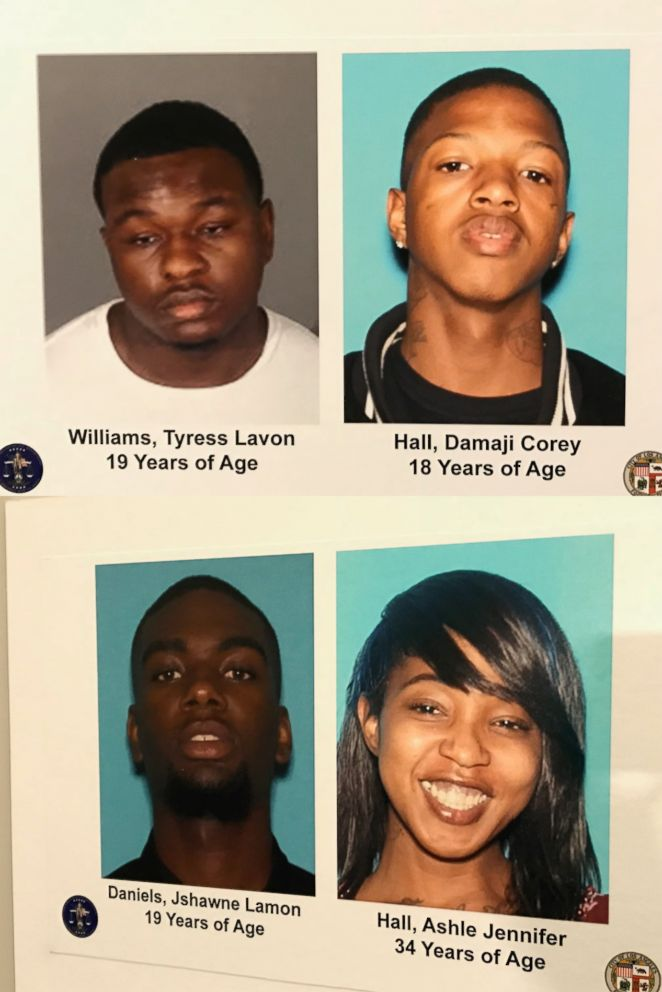 On Oct. 2, 2018, the Los Angeles Police Department announced that they have arrested four individuals allegedly connected to a string of burglaries of the homes of celebrities and sports stars in the Los Angeles area. Pictured are Tyress Williams, Damaji Hall, Jshawne Daniels and Jennifer Hall.