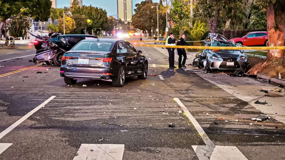 PHOTO: A photo released by the Los Angeles Police Department West Traffic Division shows the scene of a motor vehicle collision in which Monique Munoz was killed in West Los Angeles, Feb. 17, 2021 .