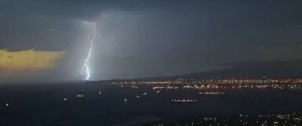 PHOTO: A rare thunder and lightning storm rolled through Los Angeles Friday night.